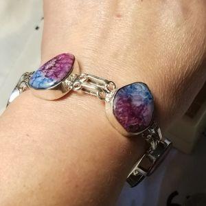 Lovely Rainbow Solar Quartz Sterling Bracelet